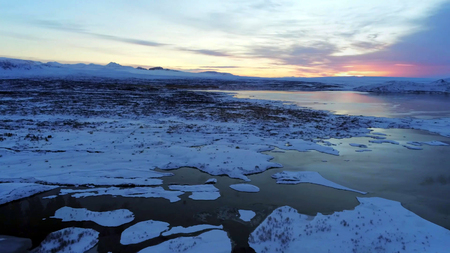 Landscape in the Thingvellir National Park in Iceland. Stock Photo
