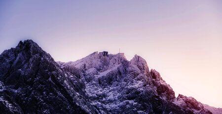Wetterstein Mountains in winter, close Garmisch, Upper Bavaria, Bavaria, Germany Stock fotó - 130116409