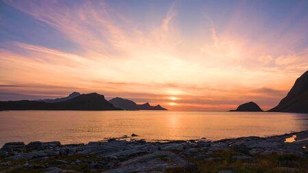 Lofoten islands is an archipelago in the county of Nordland, Norway Stock fotó - 130116638