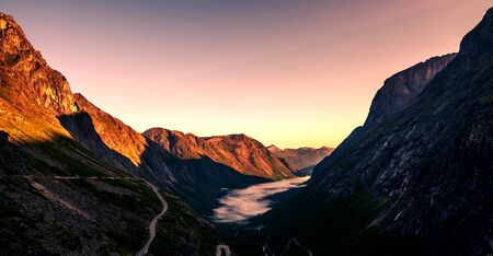 Panoramic view of beautiful natural landscape in Norway, Europe.