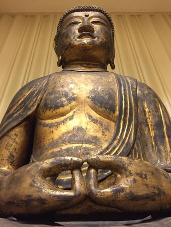 Giant statue of Buddha meditating seated Фото со стока