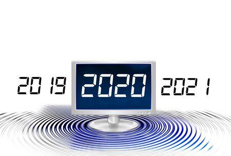 Computer Monitor Displays 2020 on New Year Фото со стока