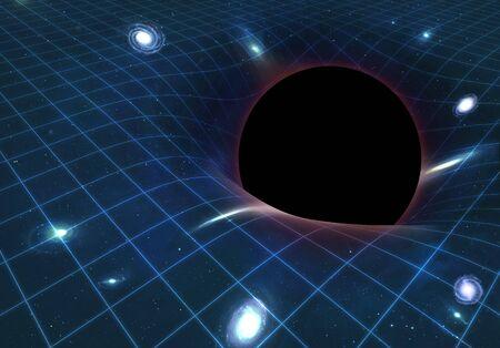 spacetime: Black hole warping space-time,artwork