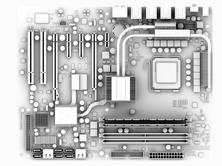 diodes: Motherboard.Computer artwork of the main circuit board (motherboard) of a personal computer (PC).Motherboard components include transistors,diodes,resistors,capacitors and inductors.Motherboards contain the main processing parts of a computer system,inclu LANG_EVOIMAGES