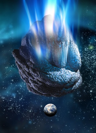Meteor heading for Earth,computer artwork