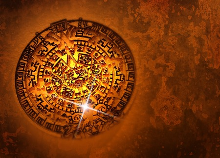 Aztec Sun Stone,computer artwork.This carved stone is also known as the Aztec Calendar Stone