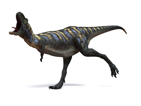 Aucasaurus dinosaur.Computer artwork of an Aucasaurus,a medium sized dinosaur from Argentina that existed during the late Cretaceous,around 100 to 65 million years ago LANG_EVOIMAGES