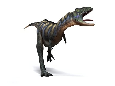 bipedal: Aucasaurus dinosaur.Computer artwork of an Aucasaurus,a medium sized dinosaur from Argentina that existed during the late Cretaceous,around 100 to 65 million years ago LANG_EVOIMAGES