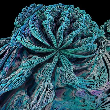 analogue: Mandelbulb fractal.Computer-generated image of a three-dimensional analogue derived form a Mandelbrot Set LANG_EVOIMAGES