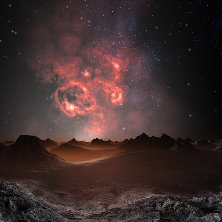 extra terrestrial: Nebula seen from an alien planet,artwork LANG_EVOIMAGES