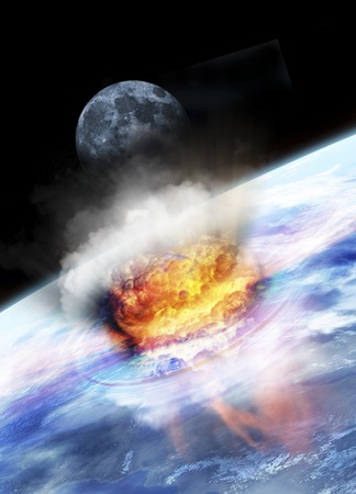 Asteroid impact seen from space,computer artwork LANG_EVOIMAGES