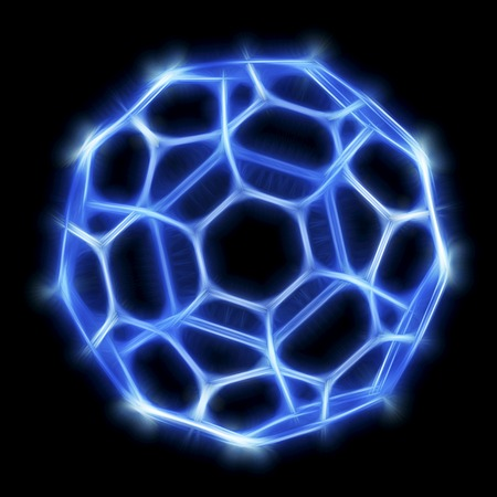 allotrope: Buckminsterfullerene molecule.Computer artwork of a molecular model of a fullerene molecule,a structurally distinct form (allotrope) of carbon.It has 60 carbon atoms arranged in a spherical structure consisting of interlinking hexagonal and pentagonal rin