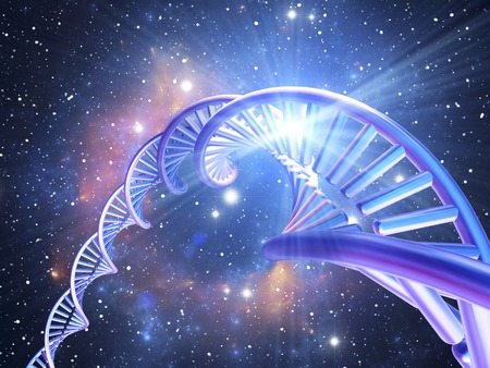 nucleotides: DNA molecule,computer artwork.DNA (deoxyribonucleic acid) is composed of two strands twisted into a double helix.DNA contains sections called genes,which encode the bodys genetic information.The background depicts a space star nebula