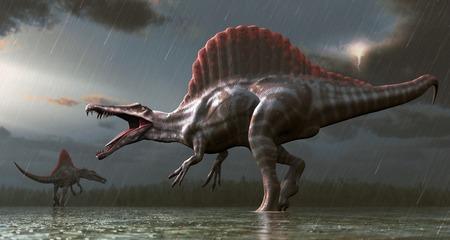 Artwork of a spinosaurus dinosaur