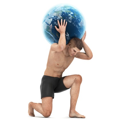 Atlas lifting globe,artwork