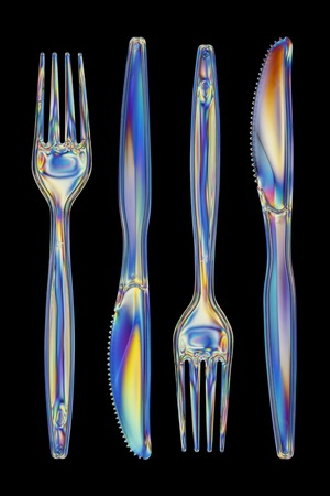 polarised: Photoelastic stress of knives and forks