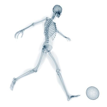 Skeleton playing football, artwork