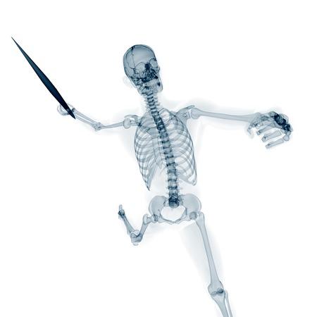 javelin: Skeleton throwing javelin, artwork
