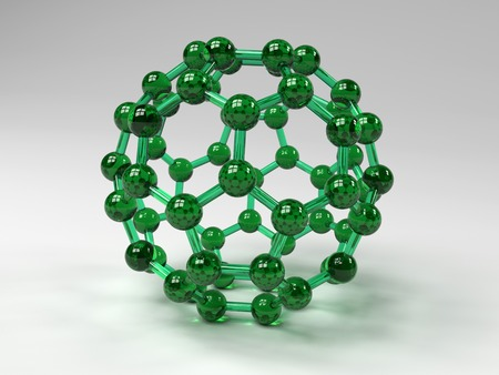 allotrope: Buckminsterfullerene molecule. Computer artwork showing the molecular structure of buckminsterfullerene, a structurally distinct form (allotrope) of carbon that has 60 carbon atoms arranged in a spherical structure consisting of interlinking hexagonal and