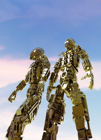 Artwork of two military robots