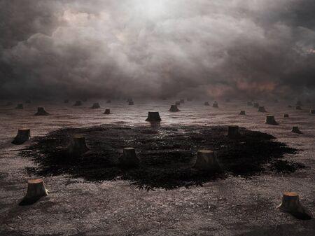 endings: Artwork of a barren landscape, deforestation concept