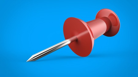 Red push pin against a blue background