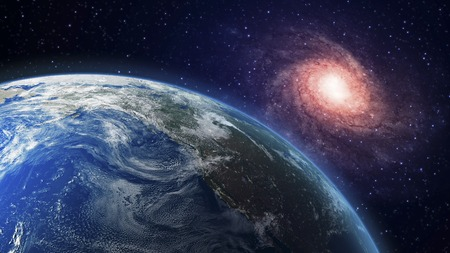 Artwork of the planet earth and galaxy LANG_EVOIMAGES