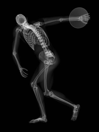 discus: Skeleton throwing discus, artwork