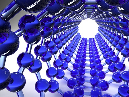 allotrope: Carbon nanotube. Computer artwork of the inside of a carbon nanotube, also known as a buckytube, showing the hexagonal carbon structure. Atoms are represented as spheres and the bonds between them by rods. Nanotubes are a type of fullerene molecule, a str
