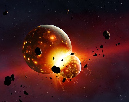 recently: Artwork of the young Earth-Moon system. The Earth had recently formed when it was struck by a protoplanet – called Theia – roughly three times the size of Mars. Debris from the impact went into orbit, while the cores of the two planets merge