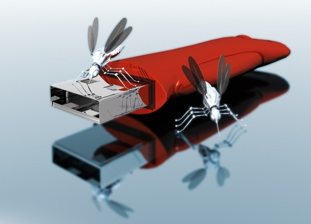 USB drive with nano bugs, artwork LANG_EVOIMAGES