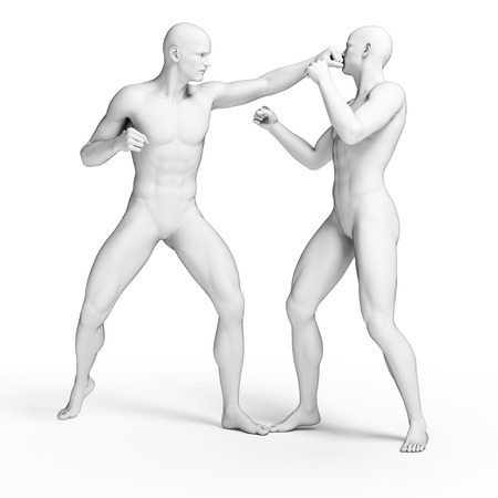 Two men fighting, illustration