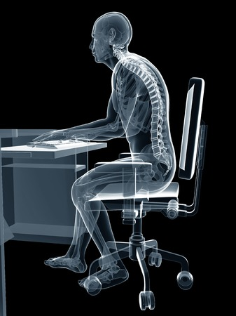 Person using a computer sitting at a desk with the incorrect posture, computer artwork
