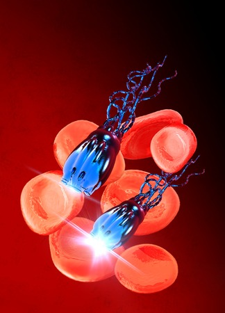 bloodstream: Nanobots in the bloodstream, computer artwork