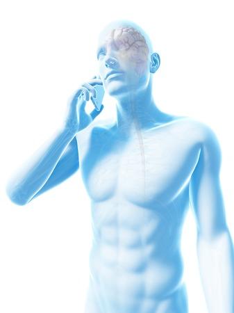 riesgo biologico: Persona que usa un teléfono móvil, ilustración LANG_EVOIMAGES