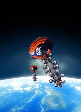 transportation: Spacecraft in Earth orbit, illustration