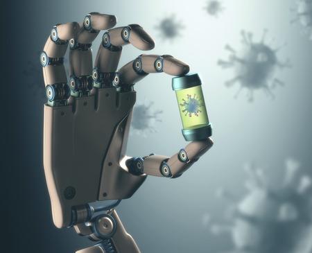 Robotic hand holding virus, illustration LANG_EVOIMAGES