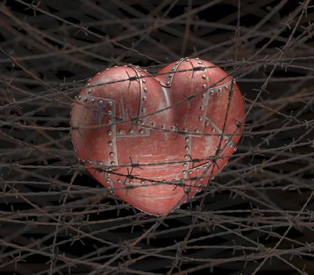Steel heart with barbed wire, computer illustration