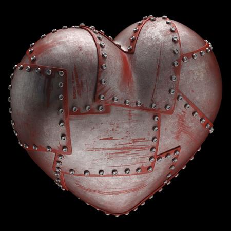 rivets: Steel heart with rivets, computer illustration LANG_EVOIMAGES