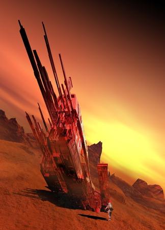 accidental: Spaceship on planet, illustration