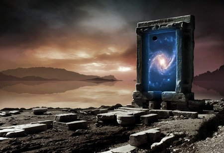 Conceptual artwork representing an inter-dimensional gateway - a portal allowing travel from our present universe to another, parallel cosmos; or perhaps to another place and time in our own universe. The landscape represents our present reality, while th