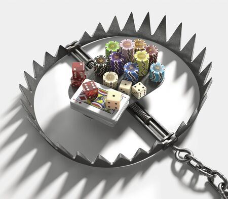 bear trap: Bear trap with gambling chips and cards