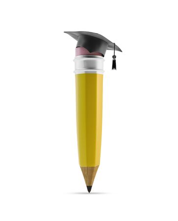 higher intelligence: Pencil with graduation cap, illustration