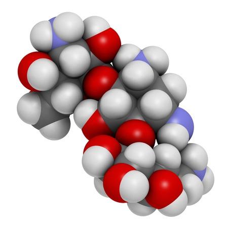 Kanamycin antibiotic drug molecule
