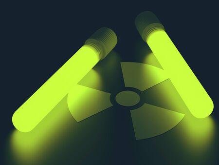 Test tubes with radioactive symbol, illustration