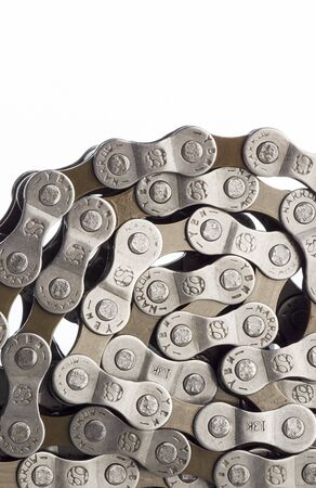Bicycle chain coiled up, close up