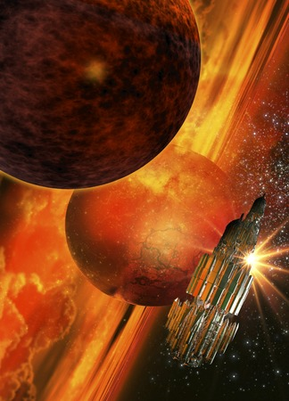 orbiting: Space craft orbiting a planet