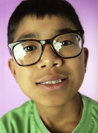 shortsighted:  Boy wearing glasses
