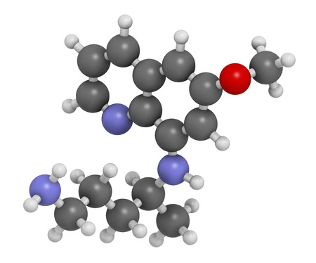 Primaquine malaria drug molecule
