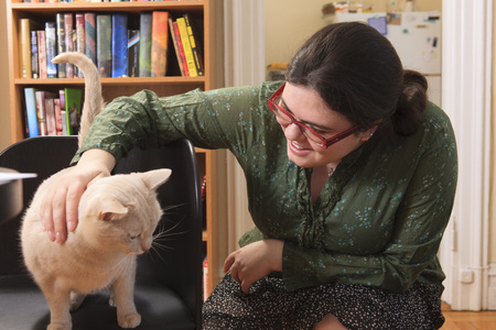 asperger: Woman with Asperger syndrome with cats